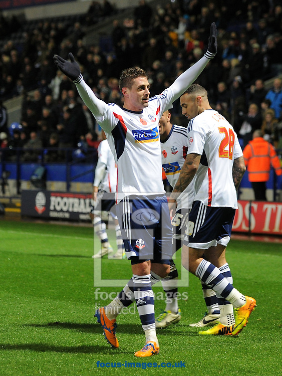 Picture by Alan Wright/Focus Images Ltd 07733 196489<br /> 09/11/2013<br /> Andre Moritz of Bolton Wanderers scores the 3rd goal against Millwall during the  Sky Bet Championship league match at the Reebok Stadium, Bolton.