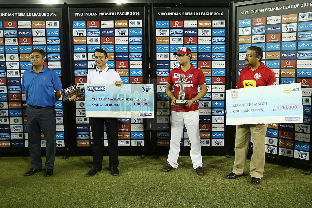 The Post Match Presentation Party during match 13 of the Vivo Indian Premier League (IPL) 2016 between the Kings XI Punjab and the Kolkata Knight Riders held at the IS Bindra Stadium, Mohali, India on the 19th April 2016<br /> <br /> Photo by Shaun Roy / IPL/ SPORTZPICS