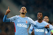 AS Monaco's Brasilian defender Fabinho celebrates after scoring during the French Championship Ligue 1 football match between Olympique de Marseille and AS Monaco on January 28, 2018 at the Orange Velodrome stadium in Marseille, France - Photo Benjamin Cremel / ProSportsImages / DPPI
