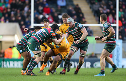 Sione Vailanu of Wasps cant find a way through the Leicester Tigers defence - Mandatory by-line: Arron Gent/JMP - 15/02/2020 - RUGBY - Welford Road Stadium - Leicester, England - Leicester Tigers v Wasps - Gallagher Premiership Rugby