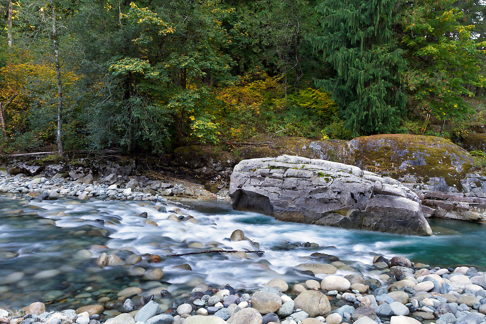 Fall colours at the Coquihalla River at Coquihalla Canyon Provincial Park in Hope, British Columbia, Canada
