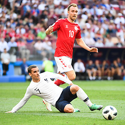 Antoine Griezmann of France and Christian Eriksen of Denmark during the FIFA World Cup Group C match between Denmark and France at Luzhniki Stadium on June 26, 2018 in Moscow, Russia. (Photo by Anthony Dibon/Icon Sport)