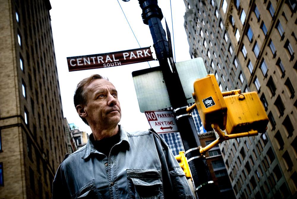 Swedish crime writer Håkan Nesser walking his dog in Central Park..Photograper: Chris Maluszynski /MOMENT