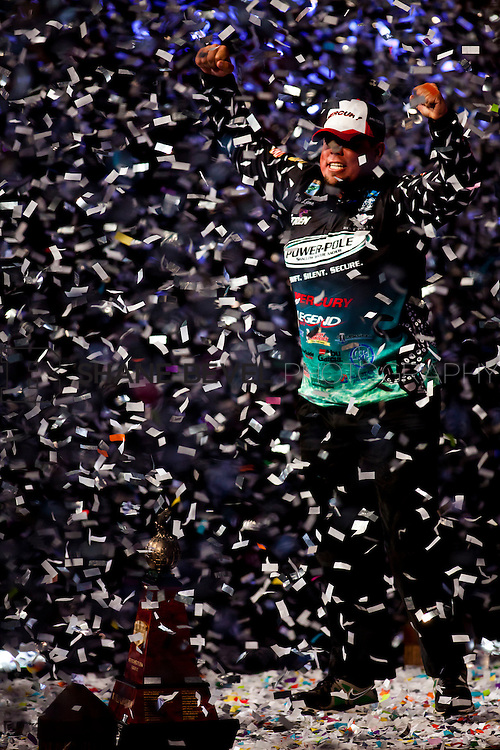 2/26/12 7:46:06 PM -- during the 2012 Bassmaster Classic on the Red River in Shreveport, La. ..Photo by Shane Bevel.Chris Lane celebrates winning the 2012 Bassmaster Classic.