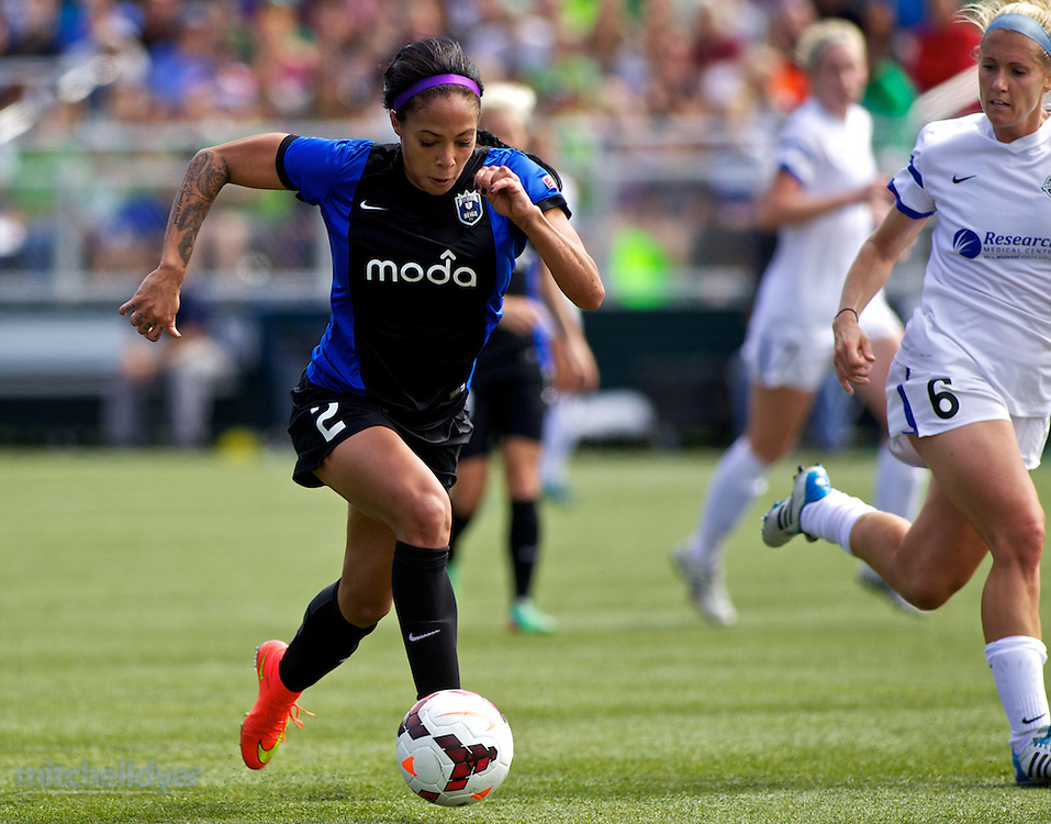 TUKWILA, WA - AUGUST 31: Sydney Leroux #2 of Seattle Reign FC controls the ball against Jen Buczowski #6 of FC Kansas City in the first half of the National Women's Soccer League Championship on August 31, 2014 at Starfire Stadium in Tukwila, Washington.  (Photo by Craig Mitchelldyer/Getty Images) *** Local Caption *** Sydney Leroux; Jen Buczowski