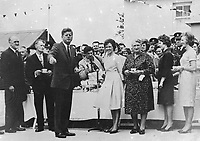 IND95260<br /> <br /> American President John Fitzgerald Kennedy (J.F.K)'s visit to Ireland, June 1963.<br /> Reception in Wexford.<br /> During his three-day visit to Ireland, US President John F Kennedy meets with his Irish cousins in the barnyard of their mutual forefather's homestead, at Dunganstown, June 27, 1963. <br /> Among those present were: Margaret Kirwan; Eunice Shriver and Jean Smith, the President's sisters; Josephine Ryan; Mary Ryan; JFK; Mary Anne Ryan; Margaret Whitty; and Joan Kirwan.<br /> (Part of the Independent Newspapers Ireland/NLI collection.)