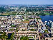 Nederland, Flevoland, Almere, 26-08-2019; Almere Centrum met de Esplanade. Citymall Almere, winkelcentrum. Aan het Weerwater (rechts) het Flevoziekenhuis.<br /> City centre Almere.<br /> luchtfoto (toeslag op standard tarieven);<br /> aerial photo (additional fee required);<br /> copyright foto/photo Siebe Swart