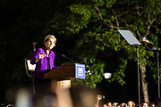 New York, NY – 16 September 2019. Massachusetts Senator and Democratic Presidential candidate Elizabeth Warren drew a large and enthusiastic crowd at a speech for her increasingly popular 2020 presidential campaign in New York's Washington Square. Warren got the support of the Working Families Party earlier in the day. Her speech referenced the Triangle Shirtwaist Factory fire, which took place just a short distance from Washington Square, and was directed at her support for working people.