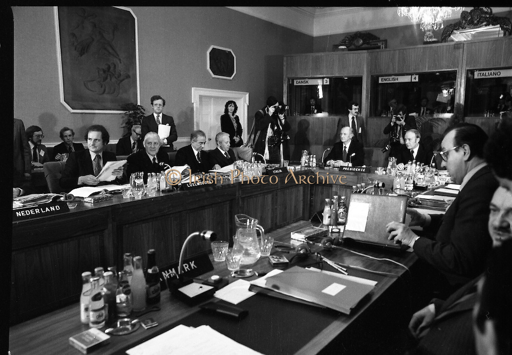 EEC Leaders Meet At Dublin Castle.   (N4)..1979..29.11.1979..11.29.1979..29th November 1979..At Dublin Castle the leaders of the countries within the EEC held a summit conference to discuss issues which would affect the EEC over the forthcoming years..Image of some of the delegates at the EEC summit (L-R), Mr Gaston Thorn, Luxembourg Foreign Minister,Mr Pierre Werner, Luxembourg Prime Minister,Mr F M Cossiga,Italian Prime Minister,The Italian Foreign Minister, An Taoiseach, Mr Jack Lynch,(Presiding at Summit), Mr Michael O'Kennedy, Irish Foreign Minister with Mr Hans Dietrich Genscher the German Foreign Minister at the opening of the summit.
