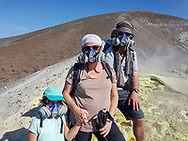 Tourists on the volcano of Vulcano, Liparic Islands, Italy