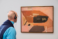 Man looking at painting Number 2 by Kenzo Okada at exhibition of American art , From Hopper to Rothko at the Barberini Museum in Potsdam , Germany . Editorial Use Only