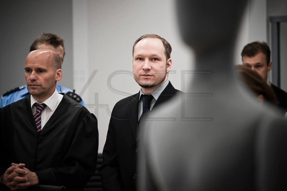 Anders Behring Breivik appears in court during his trial in Oslo courthouse.