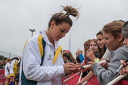 Kellie White signs some autographs after their match against the USA in the Investec Hockey World League Semi Final 2013, the Quintin Hogg Memorial Sports Ground, University of Westminster, London, UK on 27 June 2013. Photo: Simon Parker