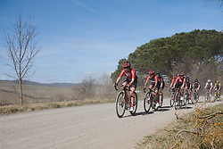 Leah Kirchmann (CAN) and her Team Sunweb teammates set the pace at Strade Bianche - Elite Women 2019, a 136 km road race starting and finishing in Siena, Italy on March 9, 2019. Photo by Sean Robinson/velofocus.com