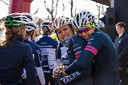 Team hugs to keep warm on a sunny but very cold day in Dwingeloo  - Drentse 8, a 140km road race starting and finishing in Dwingeloo, on March 13, 2016 in Drenthe, Netherlands.