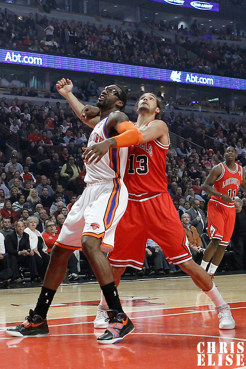12 March 2012: New York Knicks power forward Amare Stoudemire (1) vies for the rebound with Chicago Bulls center Joakim Noah (13) during the Chicago Bulls 104-99 victory over the New York Knicks at the United Center, Chicago, Illinois, USA.
