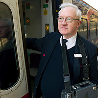 ScotRail conductor Alan Mitchell back to work after the now famous 'fare-dodger' Sam Main was thrown off an Edinburgh to Perth train by Alan Pollock in December of 2011<br /> Picture by Graeme Hart.<br /> Copyright Perthshire Picture Agency<br /> Tel: 01738 623350  Mobile: 07990 594431