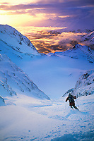 Skier on mountain slope