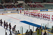 The Russian women's national hockey team and the Japanese women's national team stand before the beginning of a International Friendly match at Nagano on Sunday, December 24, 2017. 24/12/2017-Nagano, JAPAN