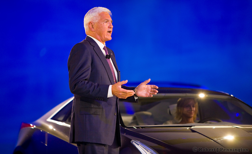 """Robert """"Bob"""" Lutz introduces the Cadillac Converj during the General Motors Press Conference at the 2009 NAIAS, North American International Auto Show, held in Detroit Michigan."""