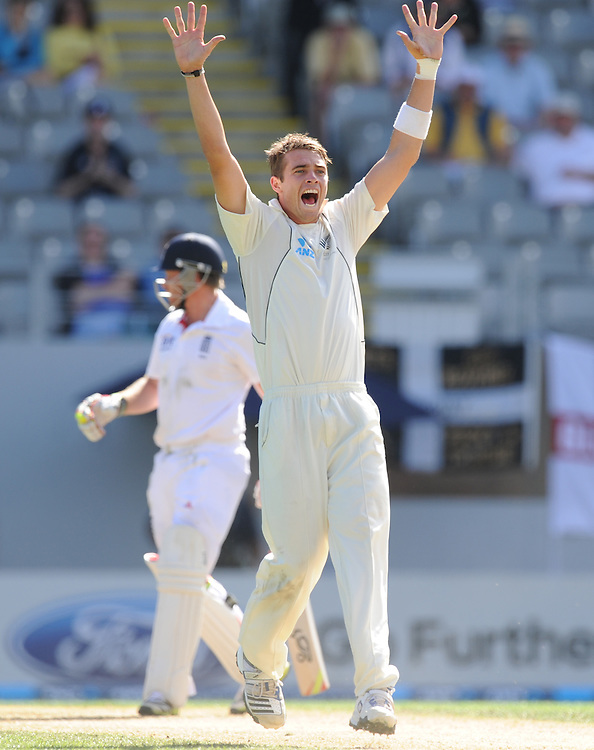 New Zealand's Tim Southee celebrates the lbw dismissal of England's Ian Bell for 17 on the third day of the 3rd international cricket test, Eden Park, Auckland, New Zealand, Sunday, March 24, 2013. Credit:SNPA / Ross Setford