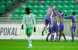 Players of Maribor celebrate during football match between NK Olimpija and NK Maribor in first leg of quarter-final of Slovenia Cup, on February 27, 2013 in SRC Stozice, Ljubljana, Slovenia. Maribor defeated Olimpija 3-1. (Photo By Vid Ponikvar / Sportida)