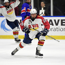 BUFFALO, NY - SEP 20,  2017: Ontario Junior Hockey League Governors Showcase game between the Toronto Jr. Canadiens and Wellington Dukes, Alec Tiley #28 of the Wellington Dukes celebrates the goal during the second period.<br /> (Photo by Andy Corneau / OJHL Images)