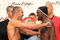 September 2, 2011; Biloxi, MS; IBF Welterweight Champion Jan Zaveck (left) and challenger Andre Berto (right) pose after weighing in for their bout at the Beau Rivage Casino.  Photo: Ed Mulholland/HBO