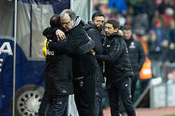 January 26, 2019 - Rotherham, England, United Kingdom - Marcelo Bielsa, manager of Leeds United embraces his staff after winning the Sky Bet Championship match between Rotherham United and Leeds United at the New York Stadium, Rotherham on Saturday 26th January 2019. (Credit Image: © Mark Fletcher/NurPhoto via ZUMA Press)