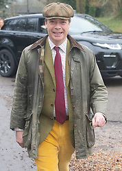 © Licensed to London News Pictures. 26/12/2018. Chiddingstone, UK.Nigel Farage arriving, Old Surrey Burstow and West Kent Boxing day Hunt meet at Chiddingstone Castle,Chiddingstone. Photo credit: Grant Falvey/LNP