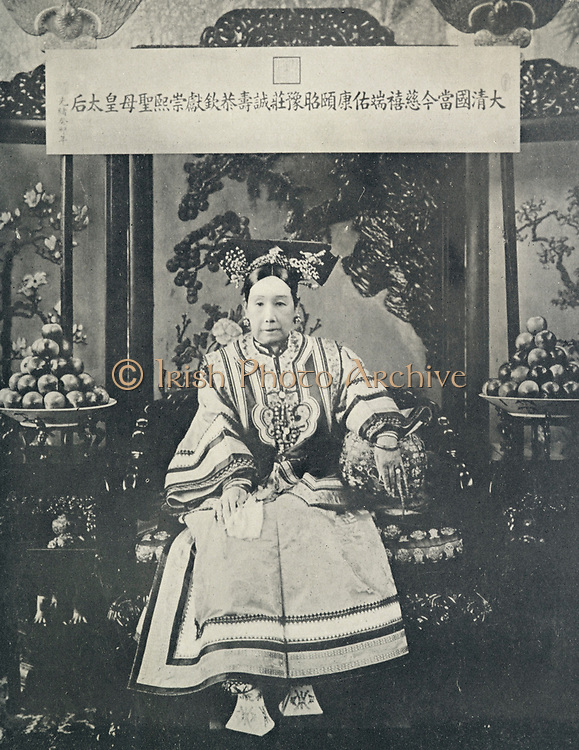 Empress Dowager Cixi;  Tz'u-Hsi (1835-1908) Empress Dowager of the Manchu Yehenara clan who controlled Manchu Qing Dynasty of China from 1867 until her death. Supported anti-foreign Boxer Rising of 1900.