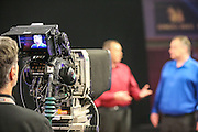 TV darts during the Quarter Final of the Singha Beer Grand Slam of Darts at Wolverhampton Civic Hall, Wolverhampton, United Kingdom on 19 November 2016. Photo by Shane Healey.
