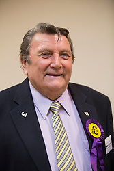 Roger Herdman is elected Peterborough UKIP councillor for Bretton North Ward from Conservative at the count in Peterborough  at the count in Peterborough as they take Conservative seats in 3 wards in the Peterborough area in the local elections, Friday 23rd May 2014.  i-Images