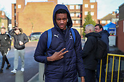 AFC Wimbledon goalkeeper Nathan Trott (1) arriving for the game during the EFL Sky Bet League 1 match between AFC Wimbledon and Doncaster Rovers at the Cherry Red Records Stadium, Kingston, England on 14 December 2019.