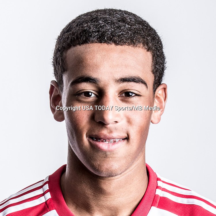 Feb 25, 2016; USA; New York Red Bulls player Tyler Adams poses for a photo. Mandatory Credit: USA TODAY Sports