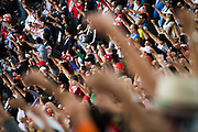 October 27-29, 2017: Mexican Grand Prix. Fans raise fists on lap 19 of the GP to show support for Mexico