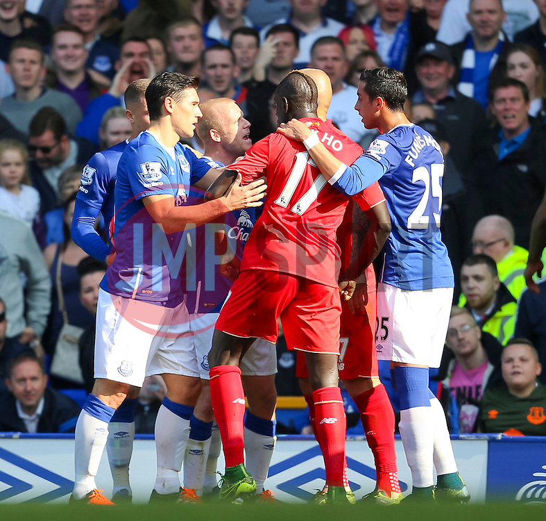 Everton's Steven Naismith argues with Martin Skrtel of Liverpool   - Mandatory byline: Matt McNulty/JMP - 07966 386802 - 04/10/2015 - FOOTBALL - Goodison Park - Liverpool, England - Everton  v Liverpool - Barclays Premier League