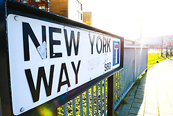 New York Way street sign outside of the Aesseal New York Stadium, home to Rotherham United - Mandatory by-line: Ryan Crockett/JMP - 18/01/2020 - FOOTBALL - Aesseal New York Stadium - Rotherham, England - Rotherham United v Bristol Rovers - Sky Bet League One