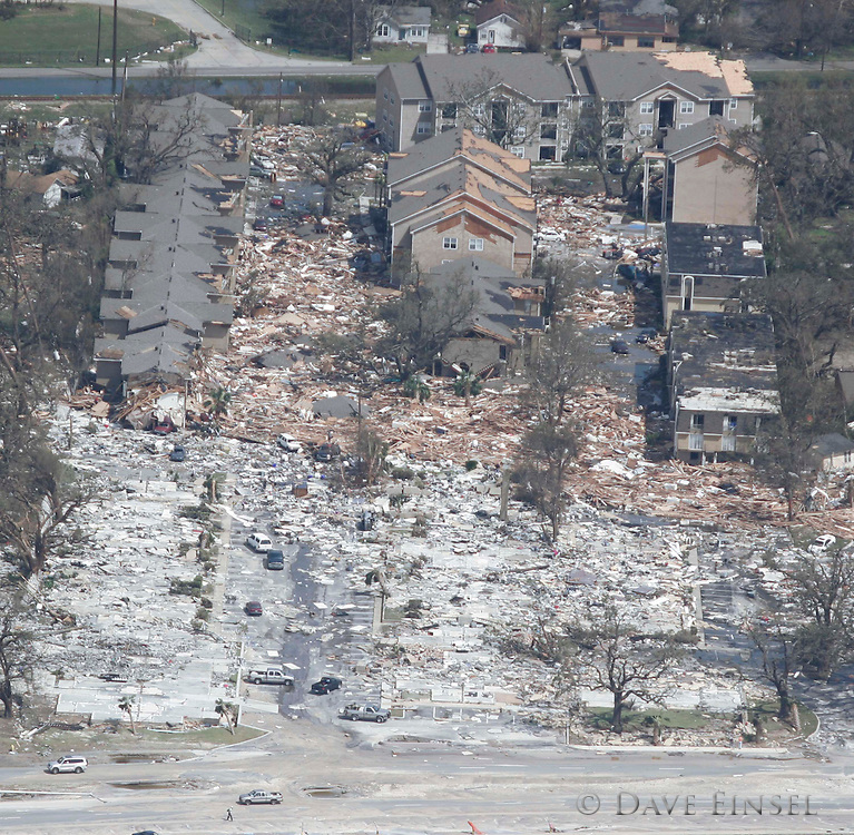 IN FLIGHT- AUGUST 30: A Gulf Port MS, beachfront apartment complex lies in rubble, Tuesday, August 30, 2005. Over 100 people are feared dead and estimates put the property loss at nearly $30 billion as Hurricane Katrina could become the costliest storm in US history.<br />