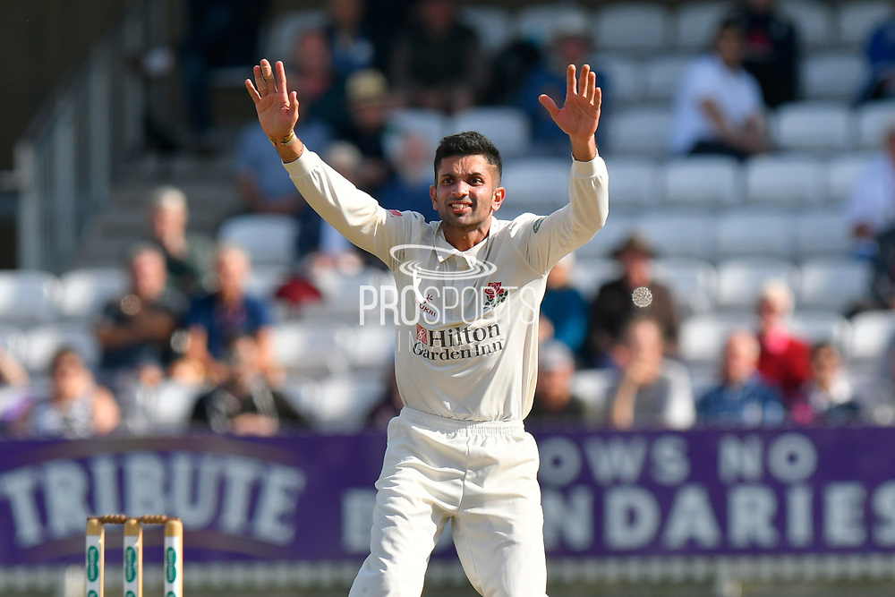 Wicket - Keshav Maharaj of Lancashire successfully appeals for the wicket of Lewis Gregory of Somerset during the Specsavers County Champ Div 1 match between Somerset County Cricket Club and Lancashire County Cricket Club at the Cooper Associates County Ground, Taunton, United Kingdom on 5 September 2018.