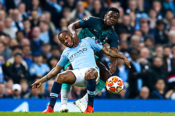 Raheem Sterling of Manchester City takes on Victor Wanyama of Tottenham Hotspur - Mandatory by-line: Robbie Stephenson/JMP - 17/04/2019 - FOOTBALL - Etihad Stadium - Manchester, England - Manchester City v Tottenham Hotspur - UEFA Champions League Quarter Final 2nd Leg