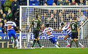 Nick Blackman opens the scoring for Reading during the Capital One Cup match between Reading and Everton at the Madejski Stadium, Reading, England on 22 September 2015. Photo by Adam Rivers.