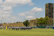 The Luzern Lions team arrives on the field for their match against the Zürich Renegades