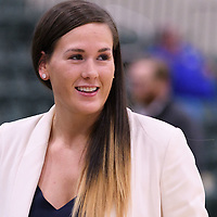 Assistant Coach, Lindsay Ledingham during the Women's Basketball Preseason game on October 6 at Centre for Kinesiology, Health and Sport. Credit: Arthur Ward/Arthur Images