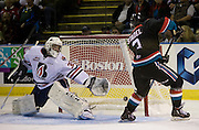 KELOWNA, CANADA - SEPTEMBER 24: Riley Stadel #3 of the Kelowna Rockets shoots puck past Connor Ingram #39 of the Kamloops Blazers during the second period on September 24, 2016 at Prospera Place in Kelowna, British Columbia, Canada.  (Photo By Cindy Rogers/Nyasa Photography,  *** Local Caption ***