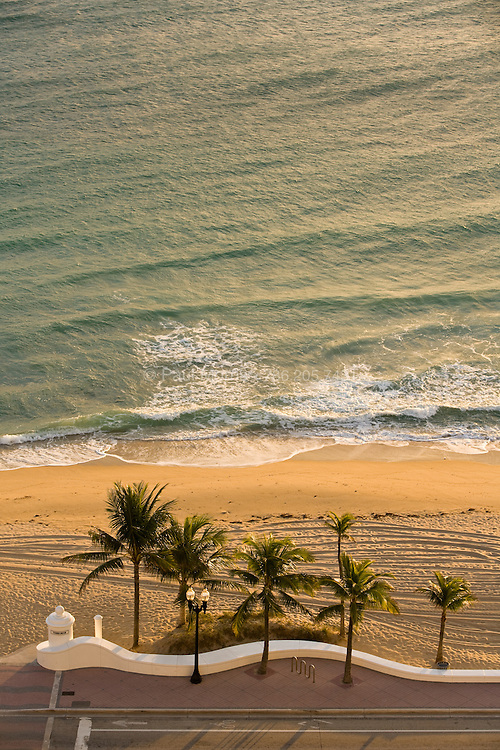 Aerial of sunrise over the ocean, Fort Lauderdale Beach, Florida
