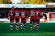 Goal, Crawley Town celebrate Ashley Nathaniel-George of Crawley Town scores, Crawley Town 4-1 Newport County during the EFL Sky Bet League 2 match between Crawley Town and Newport County at the Broadfield Stadium, Crawley, England on 20 October 2018.