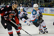 KELOWNA, CANADA - FEBRUARY 18:  Jared Bethune #21 of the Prince George Cougars, Nick Merkley #10 of the Kelowna Rockets at the Kelowna Rockets game on February 18, 2017 at Prospera Place in Kelowna, British Columbia, Canada.  (Photo By Cindy Rogers/Nyasa Photography,  *** Local Caption ***