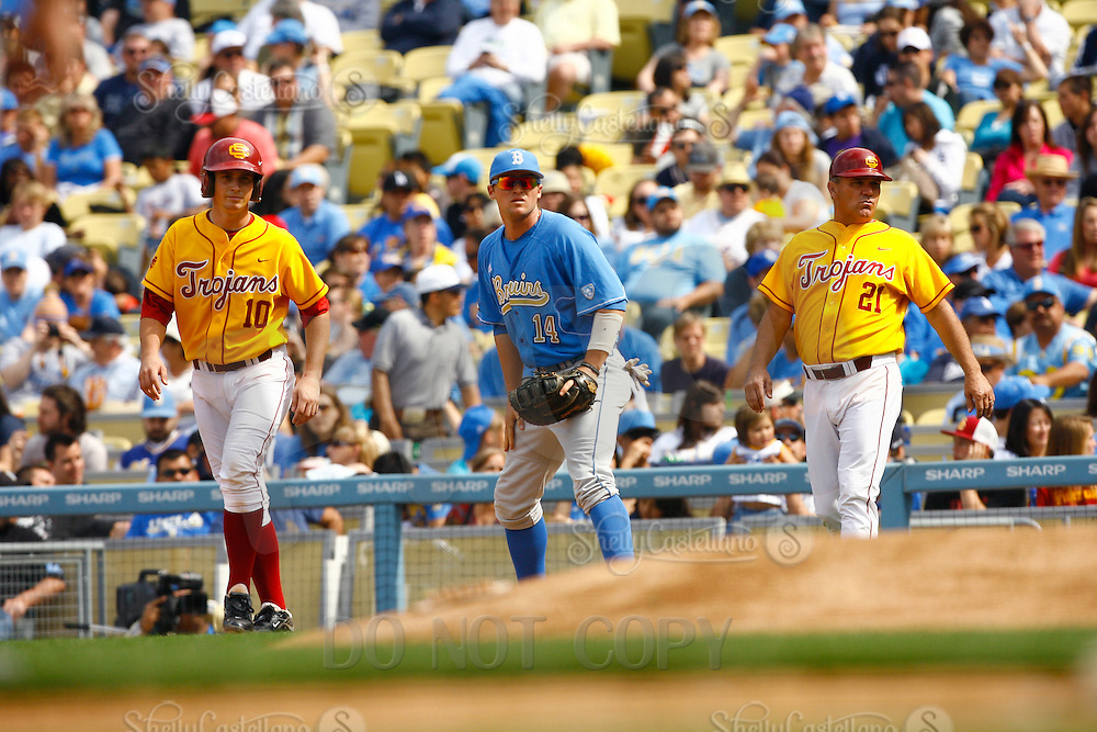 13 March 2011: NCAA Pac-10 college UCLA-USC sports rivalry baseball teams met in a non-conference game at Dodger Stadium as part of the Dodgertown Classic.  USC Trojans defeated the UCLA Bruins 2-0 during an afternoon weekend game inside the MLB stadium.  #10 Kevin Roundtree running bases.
