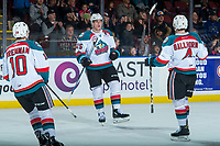 KELOWNA, CANADA - FEBRUARY 12:  Cal Foote #25 of the Kelowna Rockets celebrates a second period goal against the Victoria Royals on February 12, 2018 at Prospera Place in Kelowna, British Columbia, Canada.  (Photo by Marissa Baecker/Shoot the Breeze)  *** Local Caption ***